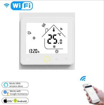 3A WiFi Thermostat Heater Temperature Controller LCD Touch Screen Backlight for Water Works with Alexa Google Home