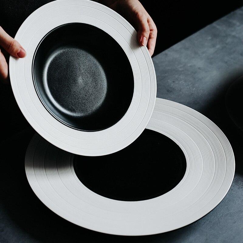 Керамическая тарелка, черный, белый поднос, тарелка для обеда, круглая тарелка для рисования, поднос для еды, Рождественская посуда, домашня