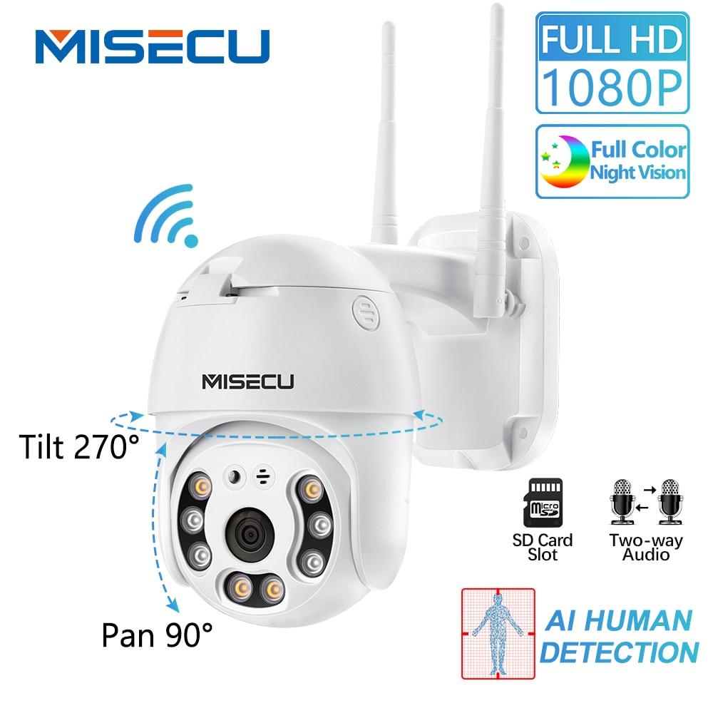 MISECU H.265 PTZ Wifi IP Camera 1080P Speed Dome AI Camera Wireless ONVIF Audio Outdoor Waterproof Color Night IR Security P2P