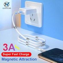 Kstucne cabo magnético micro usb tipo c 3a rápida absorção de carregamento para samsung xiaomi redmi telefone ímã carregador cabo dados fio