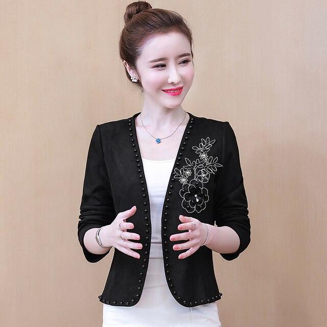 Long Sleeve Cardigan Woman Jacket 3XL 4XL  Jacket Women Jackets For Women 2021 Beading V-Neck Jacket Coat Women D107 4