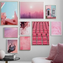 Pink Feather Sea Beach Building Landscape Nordic Poster And Prints Wall Art Canvas Painting Pictures For Living Room Decor