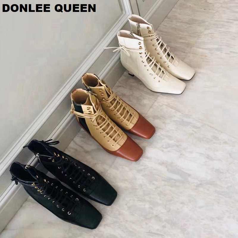 Yarım çizmeler Kadın Ince Yüksek Topuk Kadın Dantel Up kadın ayakkabısı Fermuar kısa çizmeler kadın ayakkabıları Marka Botas Mujer Chelsea Çizmeler
