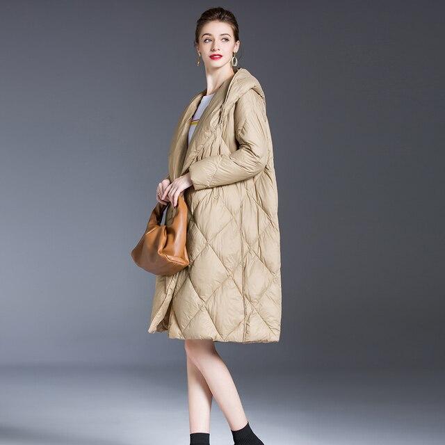 Blouson en duvet pour femme, blouson femme, doudoune légère, Ultra longue et chaude, Parka à capuche, vêtements d'hiver 2020 6