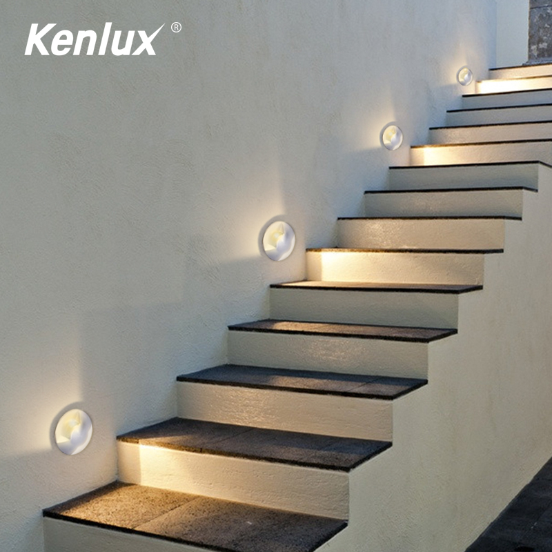 Kenlux Mini Led Light Stair Underground 2W D52mm Led Stair Light COB Outdoor Buried Garden Path Spot Recessed Inground Lighting