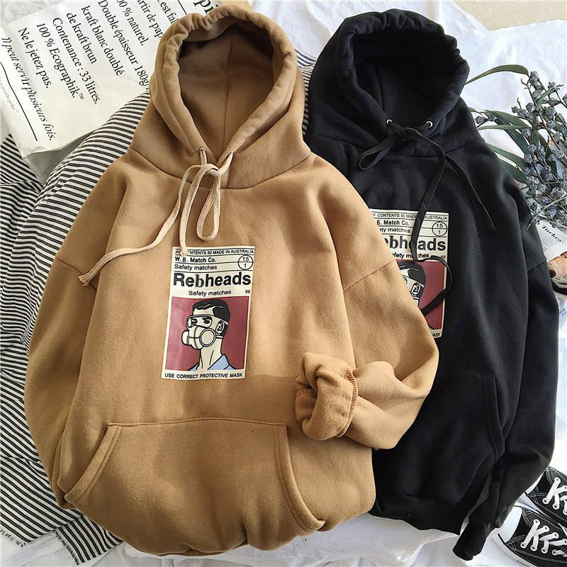 Weinter 2020 New Vintage Print Harajuku Men Hoodie Fashion Loose Oversized Pullover Clothes Long Sleeve Funny Balck Sweatshirt