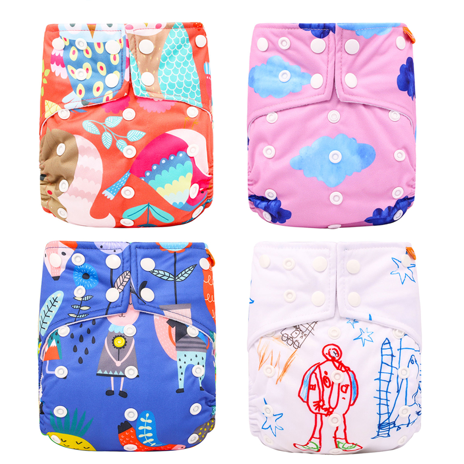 HappyFlute Reusable Cloth Diaper Suede Cloth Inner Unisex 3-15KG OS Digital Position Pocket Baby Diaper
