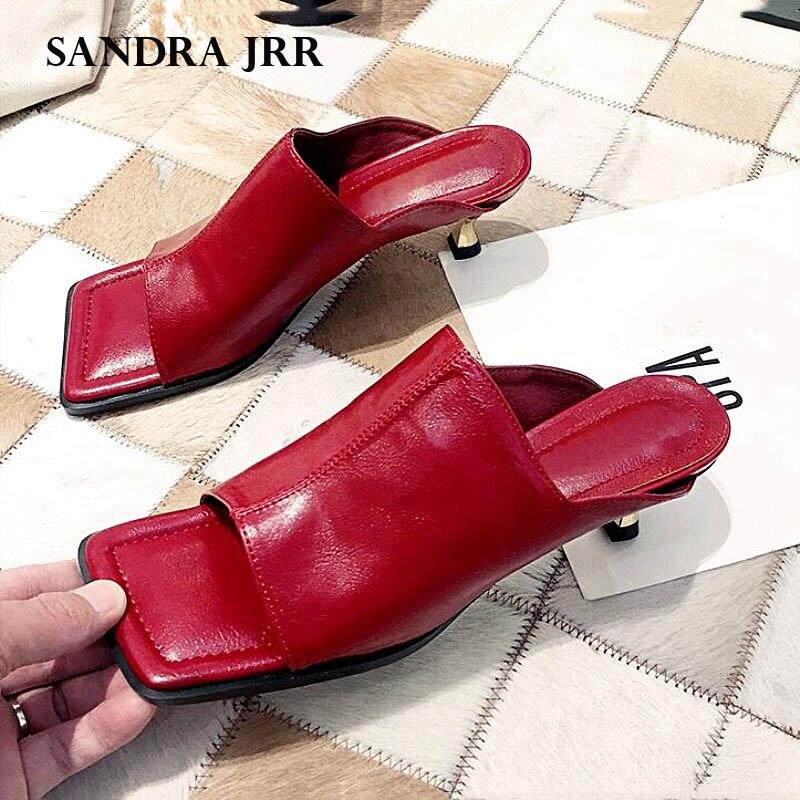 SANDRA JRR Women Med Heel Slippers Wide Open Toe Fashion Leather Heels Pumps Sandals Slip On Outside Slides Drags