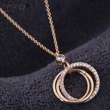 Cubic Zirconia Brass Necklace Three Round Circle Pendant Necklaces Women Accessories Chain Party Jewelry Gift