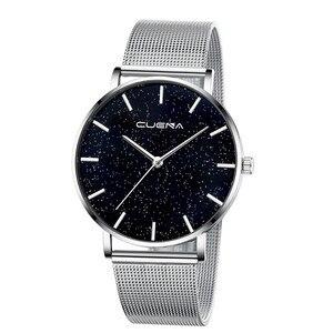 Image 3 - CUENA 高級ファッションカジュアルゴールドシルバー腕時計レディース女性のメッシュ鋼ストラップブランドアナログクォーツダイヤモンド腕時計腕時計