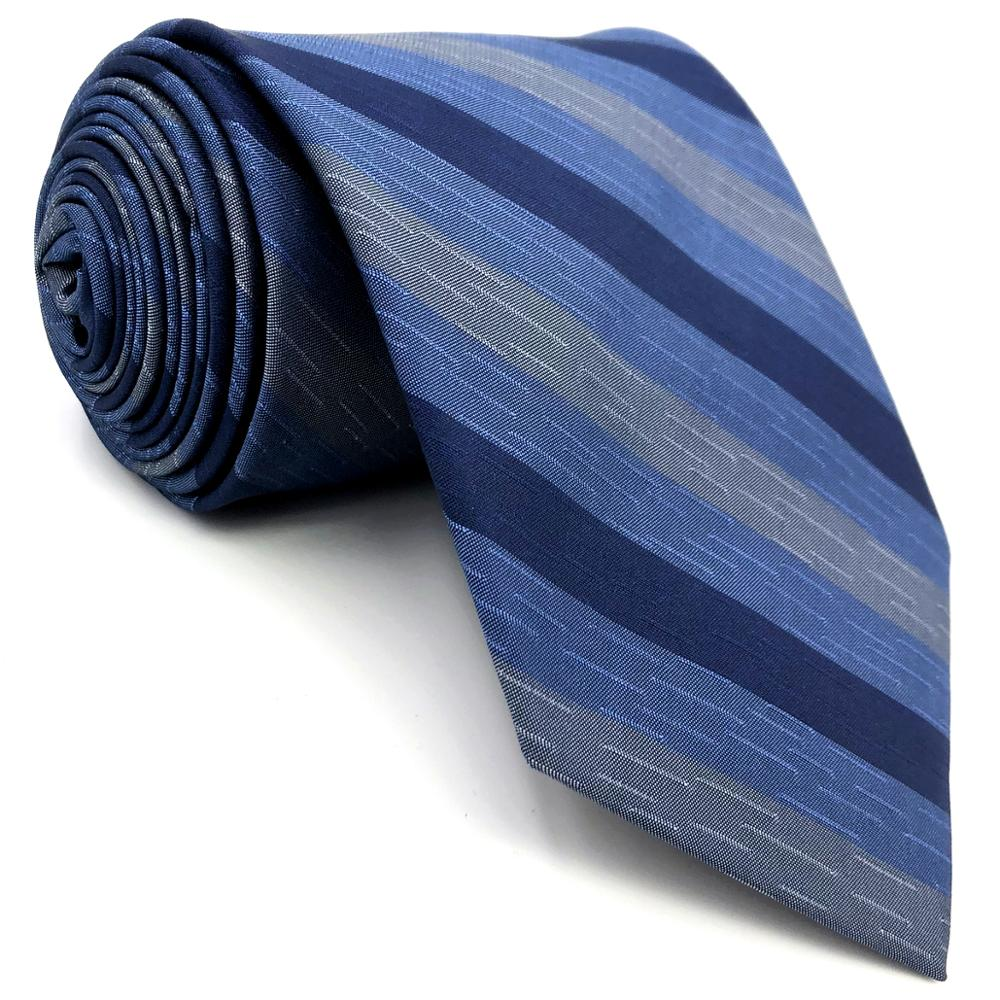 D22 Blue Striped Mens Necktie Silk Fashion Novelty Classic Groom Ties for male Dress