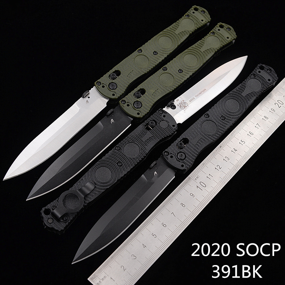 Newest SOCP 391BK 391 Nylon Fiber Handle Mark D2 Blade Folding Pocket Survival EDC Tool kitchen camp hunt Tactical outdoor knife