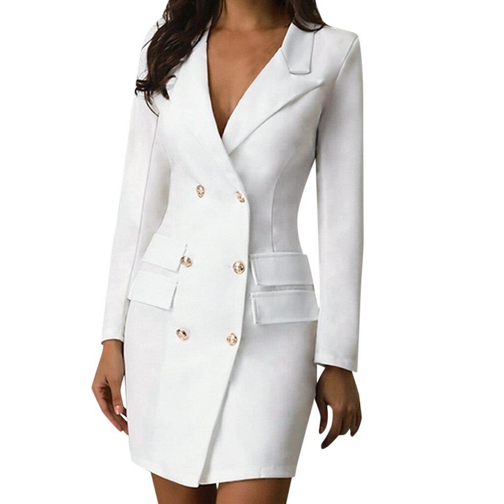 Женское двубортное платье-блейзер с длинным рукавом, v-образным вырезом и пуговицами спереди, платье в Военном Стиле, офисная одежда, платье ...