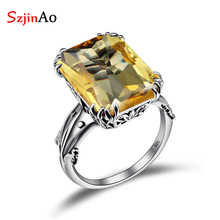 Szjinao Boho Yellow Citrine Gemstone Rings for Women 925 Silver Wedding Engagement Jewelry Birthstone Crown Party Fine Accessory