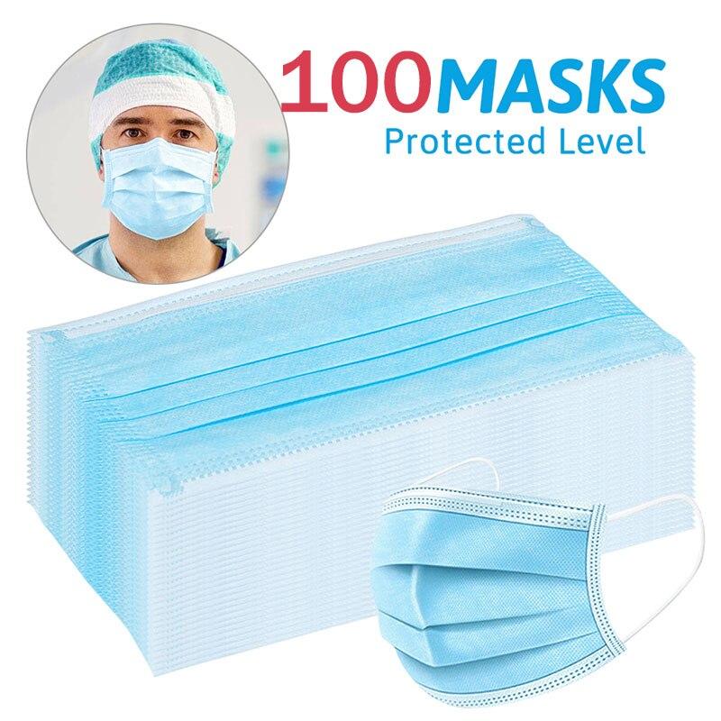 100Pcs Disposable Dustproof Mask Filter Anti Haze Mouth Mask Filter Protect Family Mouth Mask Antibacterial Face Masks マスク