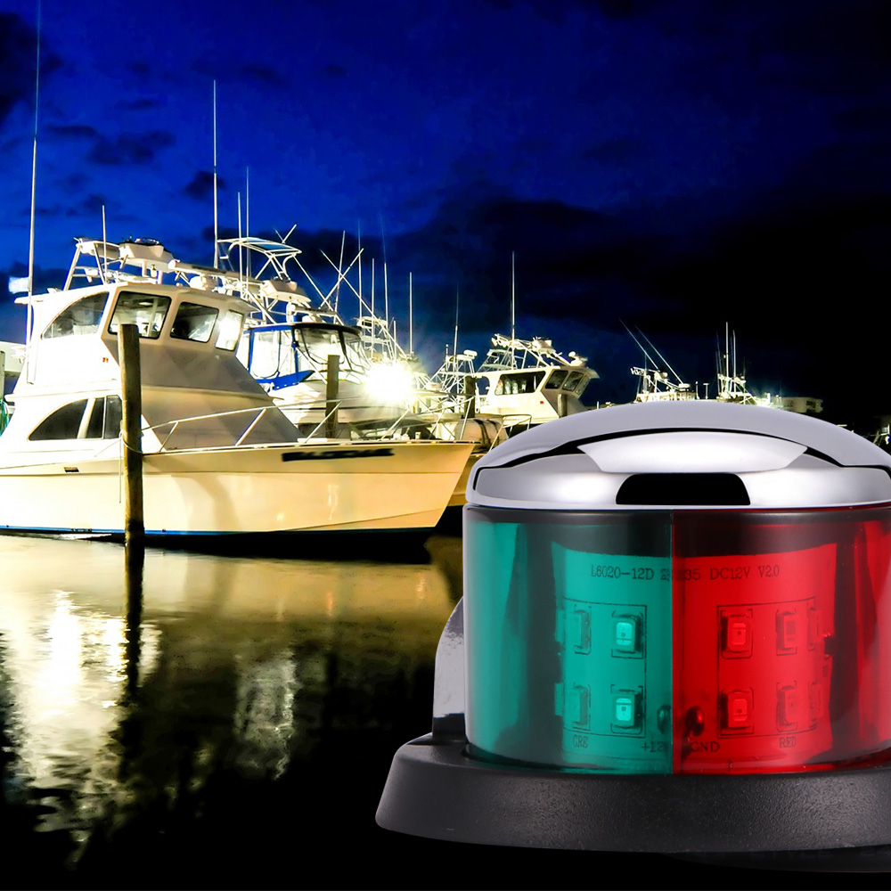 1 шт. лодка яхта Bi-Цвет сигнальная лампа из нержавеющей стали морской катер парусная яхта красный зеленый лук навигационные огни Светодиодн...
