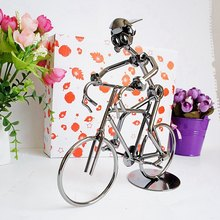 Metal Bicycler Sculpture Cyclist Figurine Bicycle Rider Statue Bike Racer Hand Soldering Home Office Decor(China)