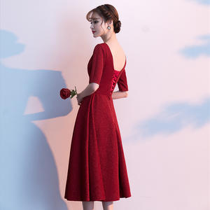 Red Dress Ball-Gown Homecoming Party Evening Sexy Women Wine Girl Style Shrink-Waist