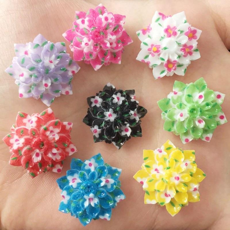 Resin Kawaii 20mm Flower Flat Back Cabochon Stone 20PCS Scrapbook DIY  Decor Home Figurine Crafts