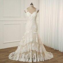 Jiayigong Plus Kích Thước Áo Cưới Nắp Tay Càn Quét Tàu Cưới Vestidos Cerimonia Đầm Vestido De Noiva Cô Dâu Đồ Bầu