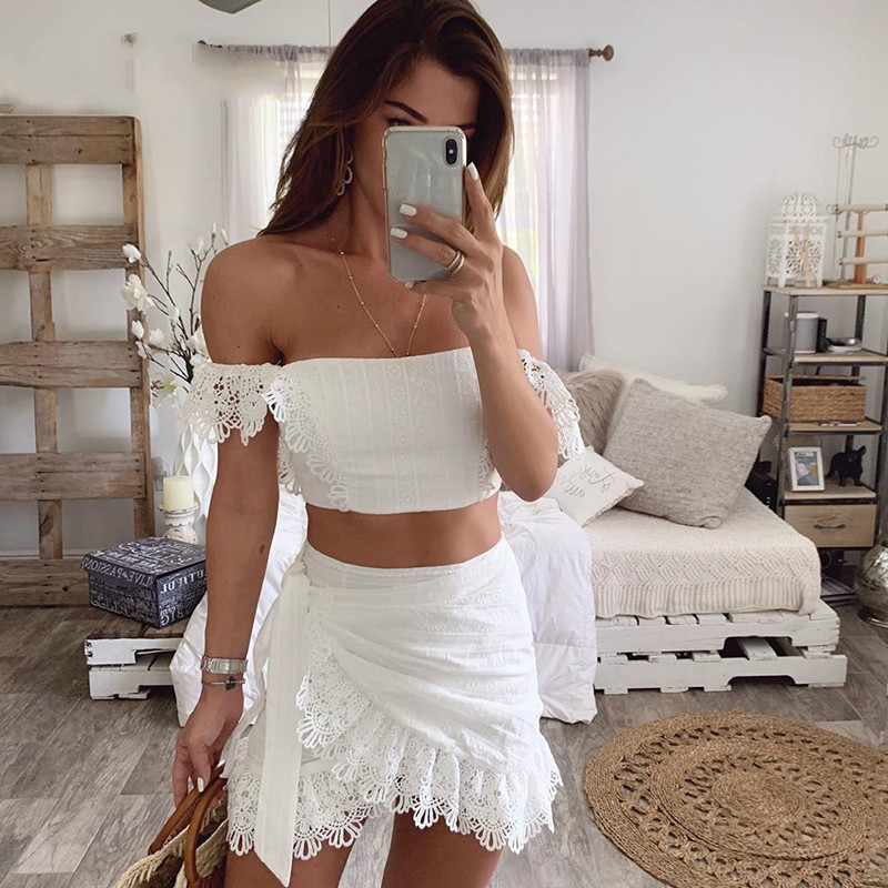 DEAT 2021 Summer White Lace Hollow Out Bandage Bodycon Slash Neck Short Top Mini Skirt Two Piece Set Women Outfits MI629