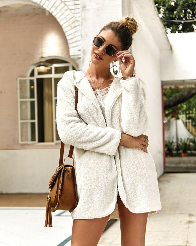 2020 Women's Winter Hooded Cardigan Coat Ladies Faux Fur Coats Long Sleeve Fluffy Keep Warm Coat Plus Size