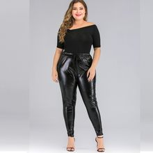 Women Plus Size Casual Solid Color Tights High Waist Feet Leather Pants(China)