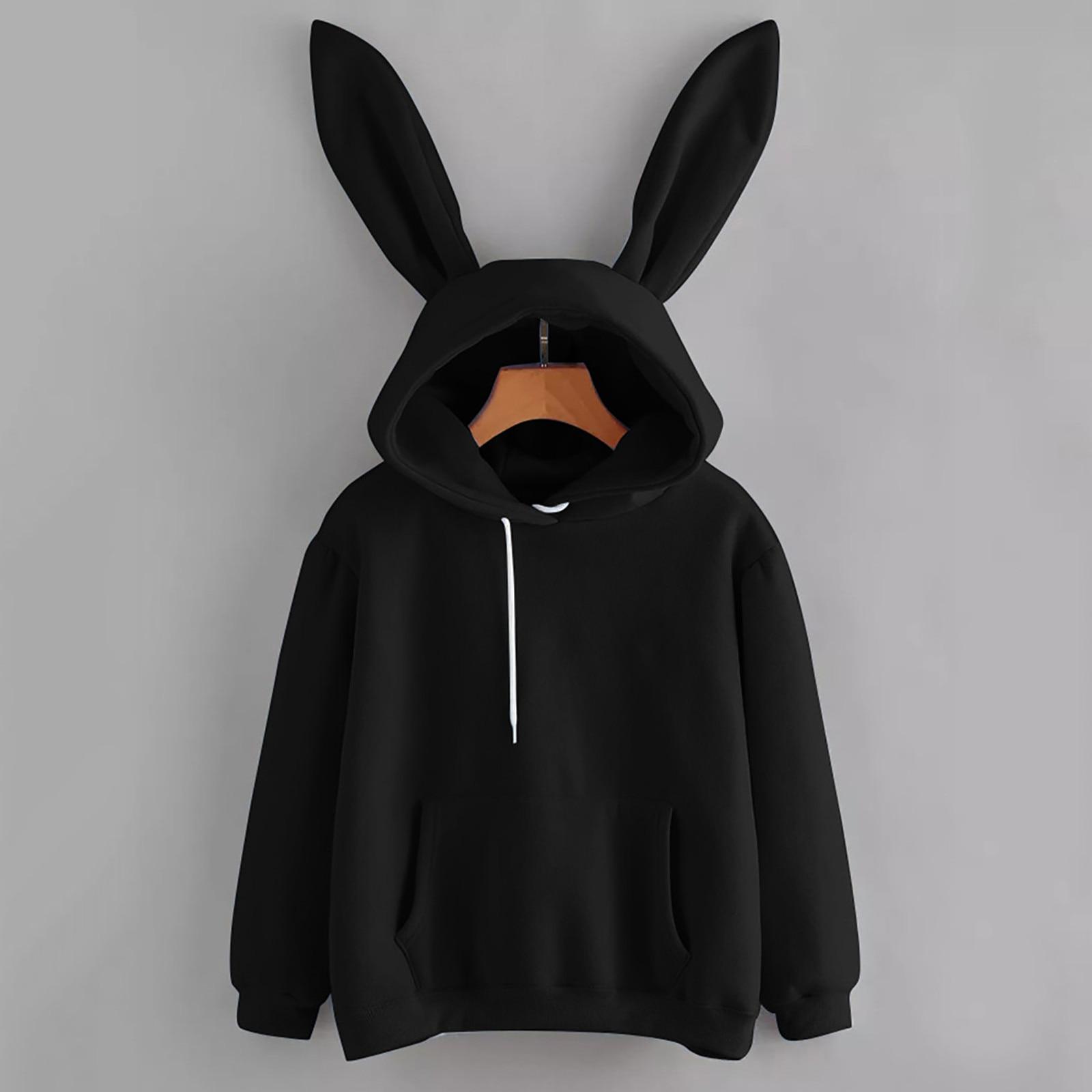 Top Verkauf Kaninchen Lange Ohren Frauen Hoodie Langarm Solide Harajuku Sweatshirt Pullover Kawaii Casual Damen Hoody Kleidung