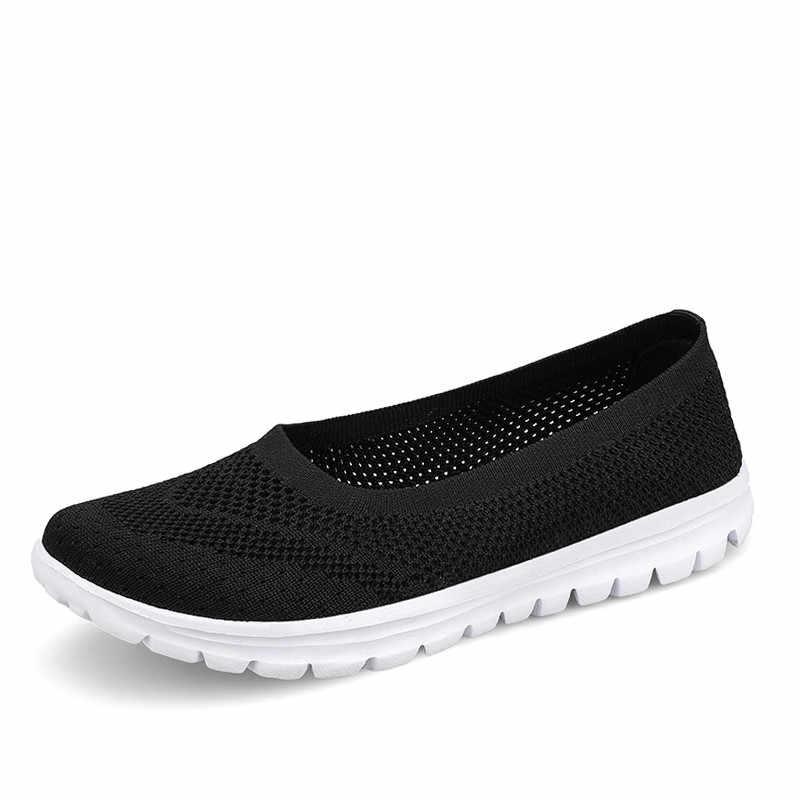 PINSEN 2020 여름 스타일 패션 여성 신발 통기성 메쉬 캐주얼 신발 여성 슬립 온 숙녀 발레리나 플랫 로퍼 신발