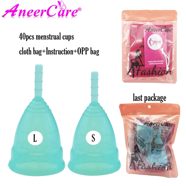 40 pçs higiene feminina grau médico silicone menstrual copo copa menstrual senhora período copo coppetta metruale coupe menstruelle