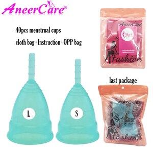 Image 1 - 40Pcs Feminine Hygiene Medical Grade Silikon Menstruations Cup Copa Menstruations Lady Zeitraum Tasse Coppetta Mestruale Coupe Menstruelle