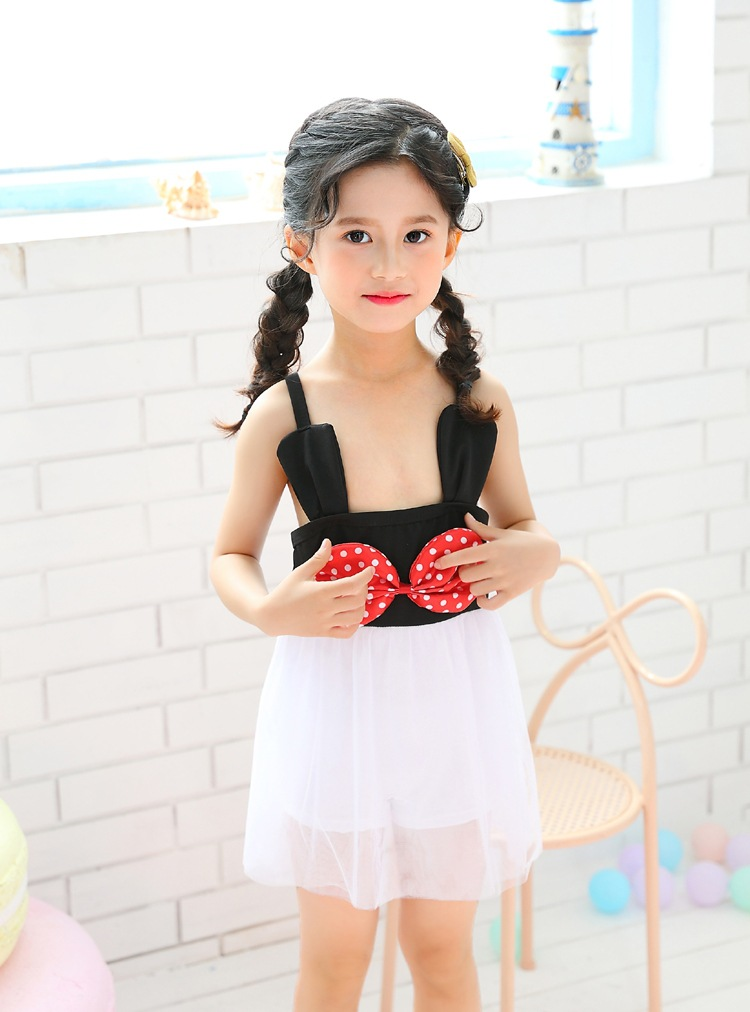 South Korea Children Wen Quan Bao Infants Small Size Skirt 2-4 Years Old GIRL'S Skirt One-piece Cute Bathing Suit