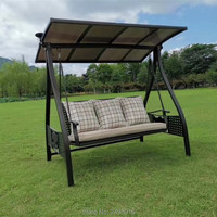3 seats aluminum garden swing chair PC board canopy hammock outdoor furniture with solar light and cushions