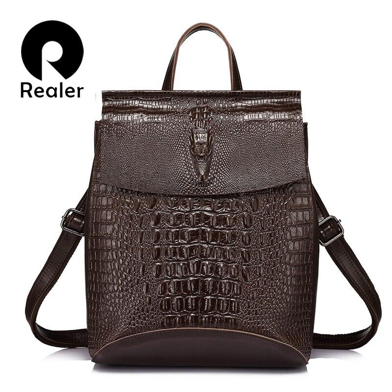 REALER Brand Fashion Women Backpack High Quality Split Leather Shoulder Bag Female Crocodile Prints Large Multifunctional Bag