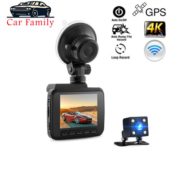 Dashcam 4K Super HD 2160P DVR Novatek 96660 Build-in WiFi GPS Function Dual Lens Night Vision 24 Hours Monitor Driving Recorder image