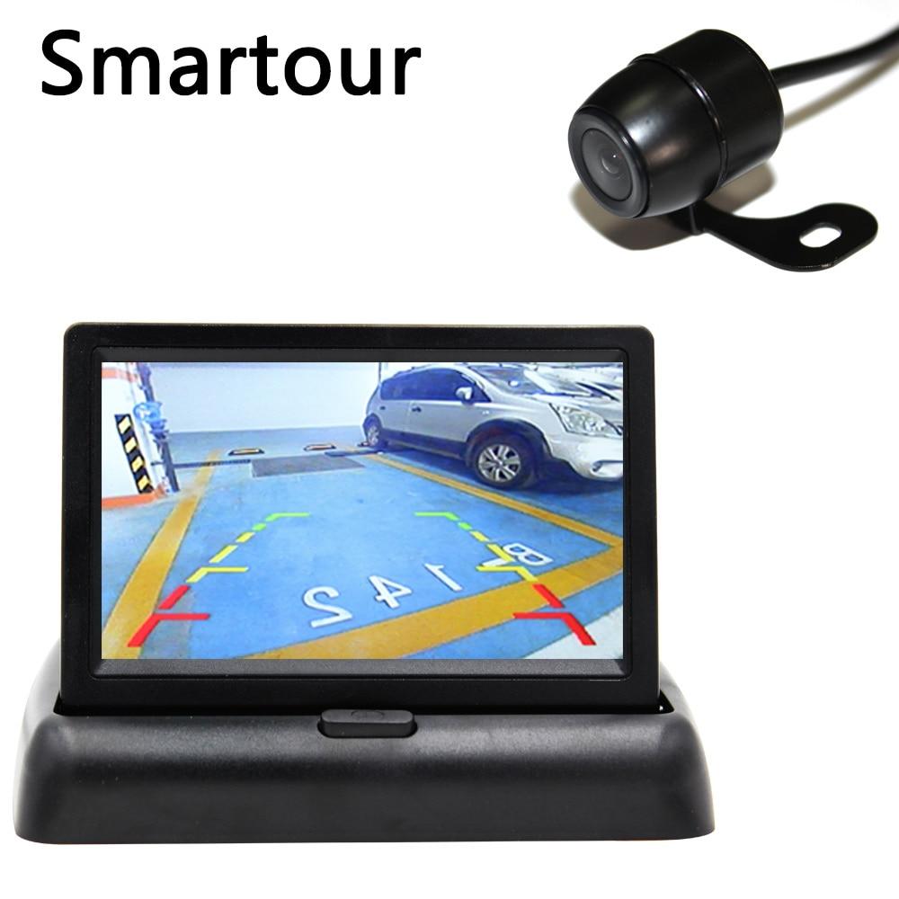 Smartour 4,3 Zoll TFT LCD Auto Monitor Faltbare Monitor Display Reverse Kamera Parkplatz System für Auto Rück Monitore ccd