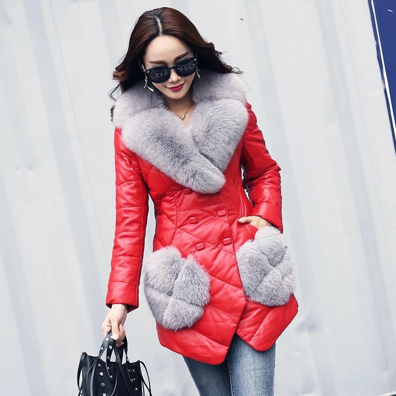 Women's 2020 Genuine Leather Jacket Sheepskin Coat Female Fox Fur Collar Down Jackets Warm Coats Jaqueta De Couro WXF271 S S