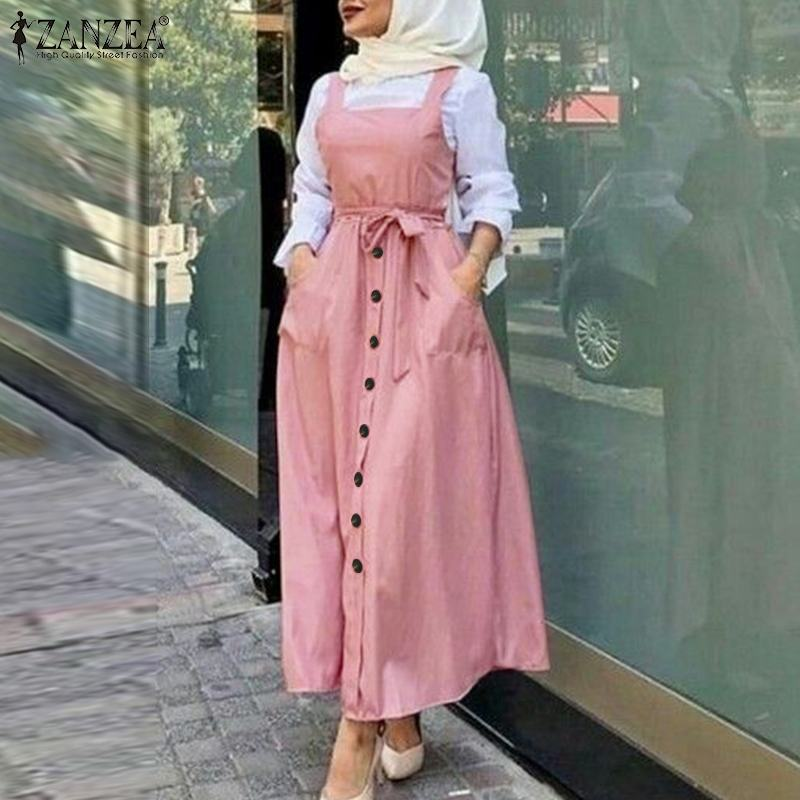 Women's Autumn Overalls Vestidos Fashion Islamic Dress ZANZEA 2021 Casual Solid Tank Marocain Robe Female Button Sundress S-5XL 3