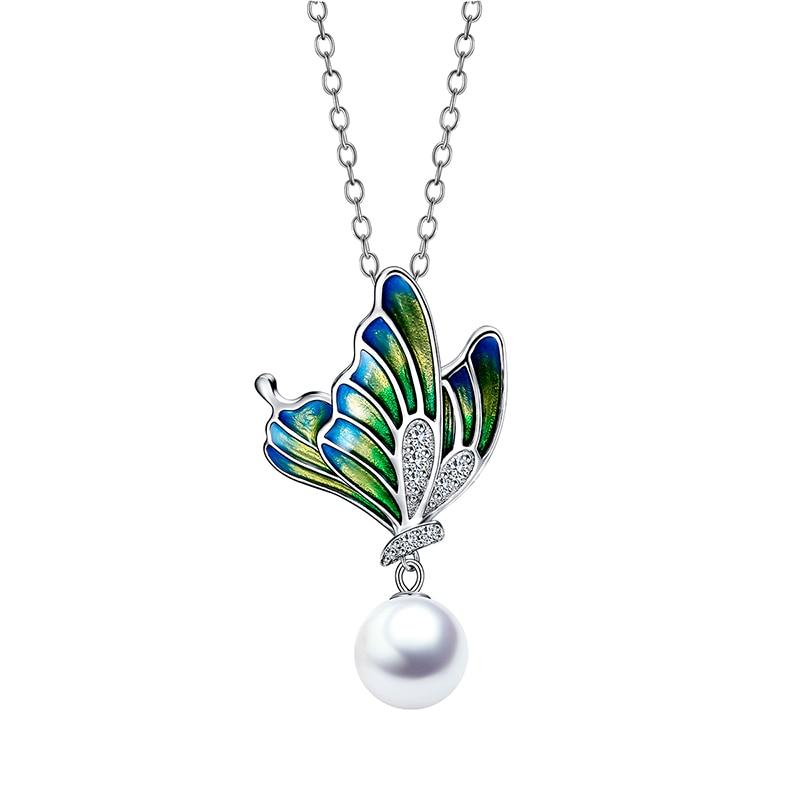 GW 2019 mignon peinture à l'huile papillon charmes collier argent 925 lien chaîne collier bijoux pour femmes bijoux en argent nouveauté