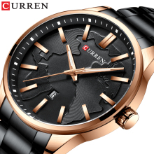 CURREN Business Men's Quartz Watches 2019 Black Stainless Steel Fashion Male Watch Luminous Hands Calendar Water Resistant Clock цена и фото