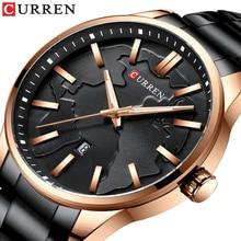 цена CURREN Business Men's Quartz Watches 2019 Black Stainless Steel Fashion Male Watch Luminous Hands Calendar Water Resistant Clock онлайн в 2017 году