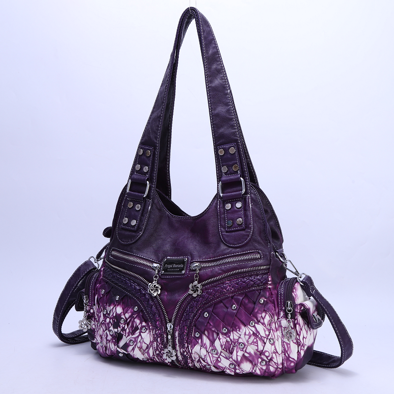 Angelkiss Brand Rivet-Decorated Tie-Dyed Washed PU Women Handbag Large Capacity Lady Messenger Tote With Adjustable Long Strap