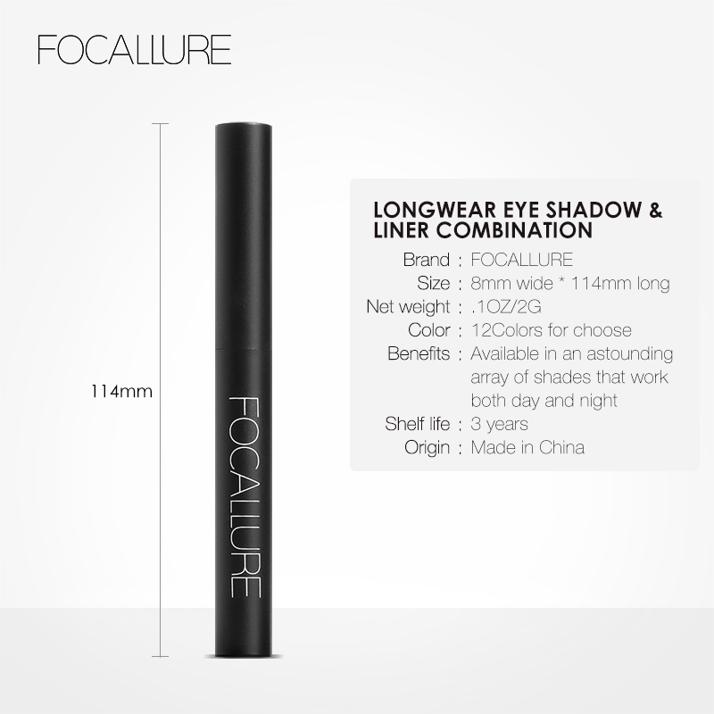 FOCALLURE 12 Colors Eyeshadow Cosmetics Pencil Eyes Makeup Eye Shadow Eye Liner 4