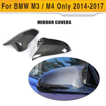 DRY Carbon Fiber Rear Mirror Cap Covers Trim Add On For BMW F80 M3 F82 F83 M4 Only 2014-2017 Sedan Coupe Convertible