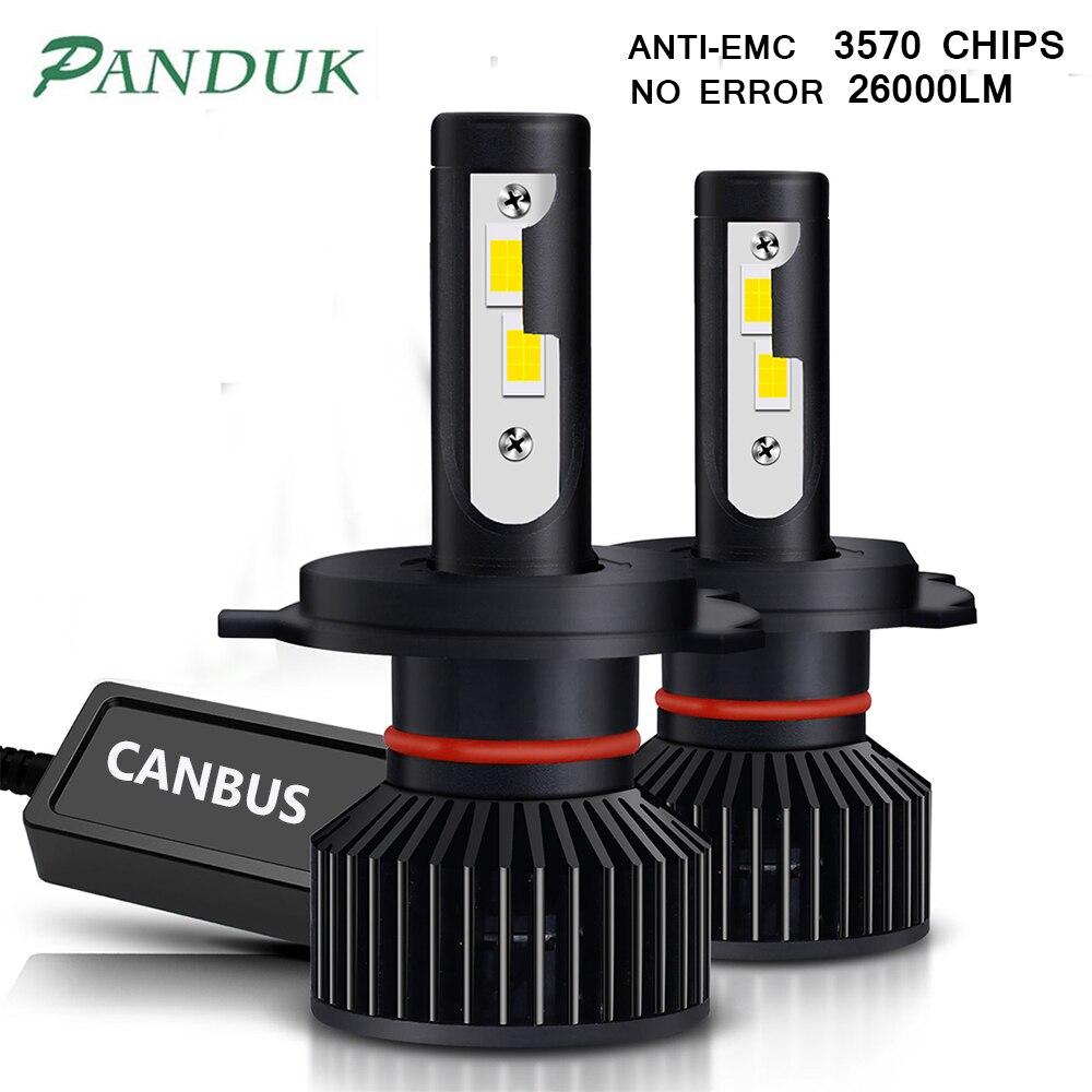 PANDUK 2 шт. H7 Led Canbus 26000LM высокое Мощность фар H1 H4 H8 H11 9005 9006 Hb3 9004 9007 H13 9012 Светодиодная лампа Turbo лампы для автомобилей
