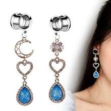 2 pçs balançar plugues de ouvido túneis calibres de orelha brincos piercing cristal expansor túnel plug macas corpo jóias expansores oreja
