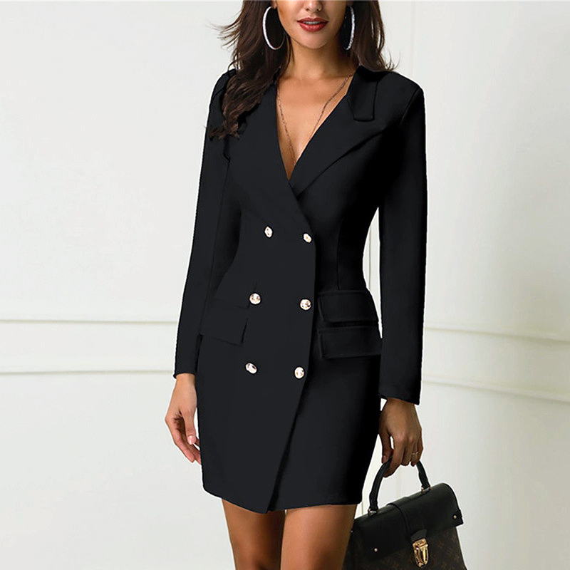 Fashion Women Autumn Winter Top Office Lady Blazers Dress Elegant Long Sleeve Fit Bodycon Business Ladies OL Formal Suit