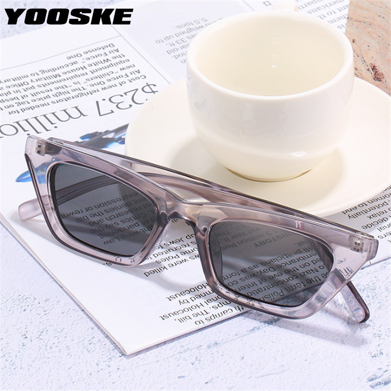 YOOSKE 2020 Small Sunglasses Women Luxury Brand Designer Cat Eye Sun Glasses Ladies Black Mrrior Vintage Eyeglasses Shades UV400