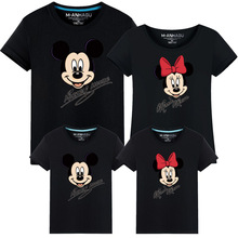 New Cartoon Mouse Family Clothes T-shirt Cotton Tops Holiday Same Look Matching Tee Shirts Minnie Mother Father Kids Tees