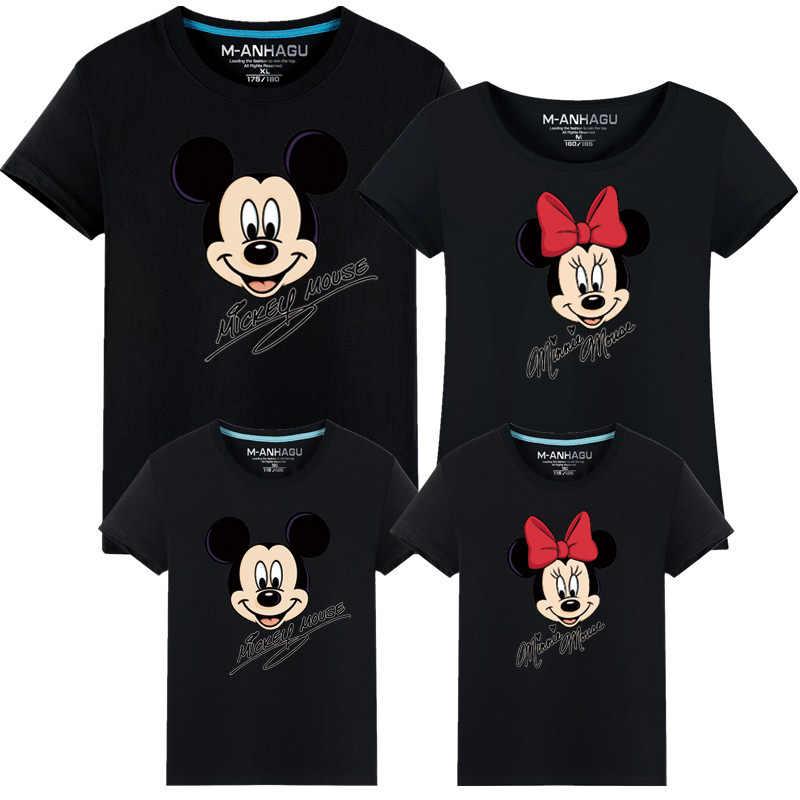 Novo mouse dos desenhos animados roupas da família camiseta algodão topos férias família mesmo olhar combinando camisetas minnie mãe pai crianças t
